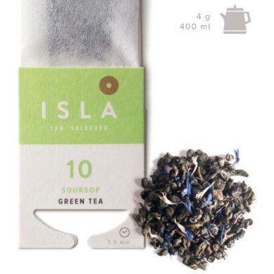 Чай Isla зелёный с саусепом SOURSOP, 10 пакетиков