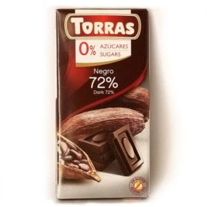 Шоколад черный без глютена и сахара Torras 72% cacao 75 г