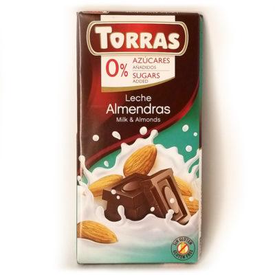 Шоколад молочный без глютена и сахара Torras Almendras с миндалем 75 г