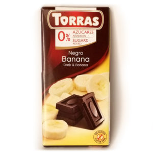 Шоколад черный без глютена и сахара Torras Dark with banana с бананом 75 г