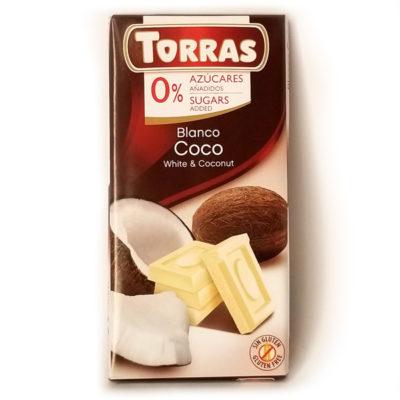 Шоколад белый без глютена и сахара Torras Coco с кокосом 75 г