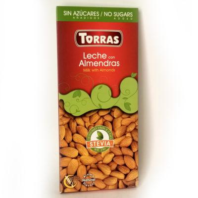 Шоколад молочный без глютена и сахара Torras Stevia Milk with Almonds с миндалем 125 г