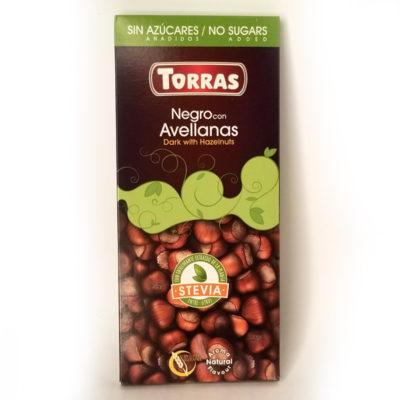 Шоколад черный без глютена и сахара Torras Stevia Dark with Hazelnuts с фундуком 125 г