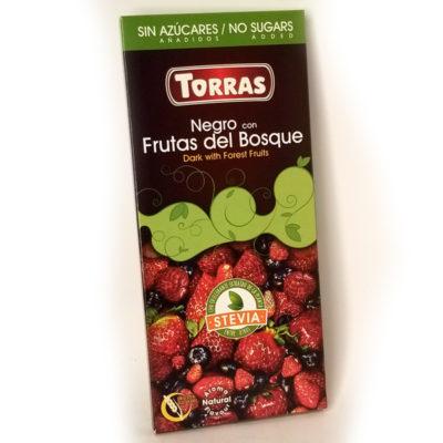 Шоколад черный без глютена и сахара Torras Stevia Dark with Forest Fruits 125 г