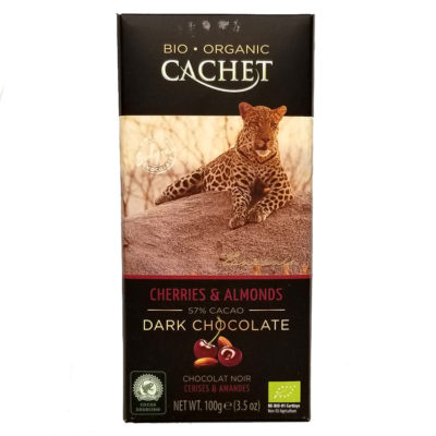 Шоколад CACHET Tanzania черный с вишней и миндалем 57% какао 100 г