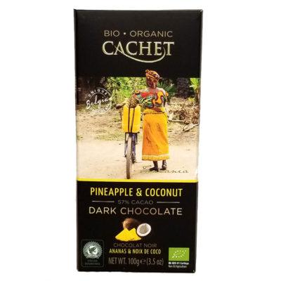 Шоколад CACHET Tanzania черный с ананасом и кокосом 57% какао 100 г