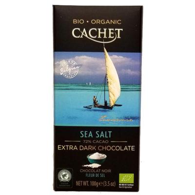 Шоколад CACHET Tanzania экстра черный с морской солью 72% какао 100 г