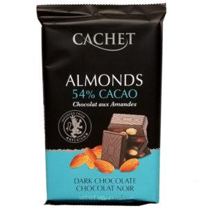 Шоколад черный 54% какао с миндалем CACHET DARK CHOCOLATE 54% COCOA & ALMONDS 300 г