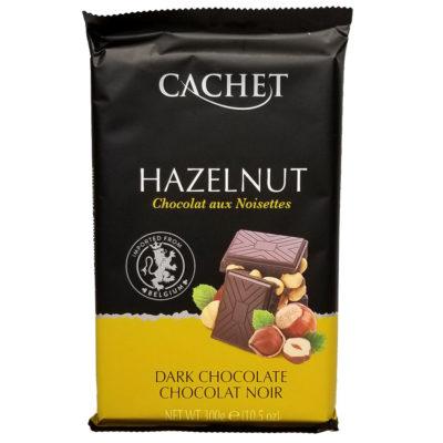 Шоколад черный 54% какао с лесным орехом CACHET DARK CHOCOLATE 54% COCOA HAZELNUT 300 г