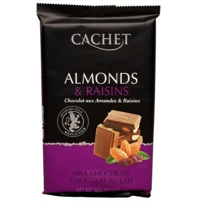 Шоколад молочный с миндалем и изюмом CACHET MILK CHOCOLATE ALMONDS & RAISINS 300 г