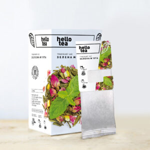 Чай hello tea зеленый Зеленая мята 20 фильтр-пакетов 40 г