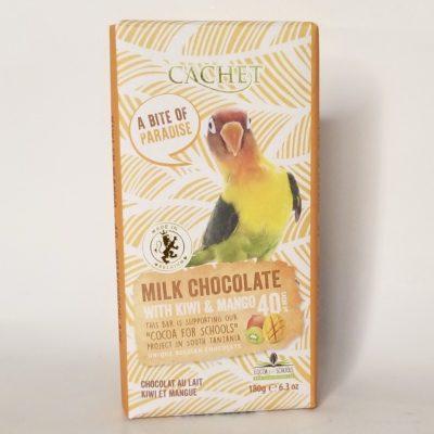 Шоколад CACHET молочный с киви и манго 40% какао 180 г