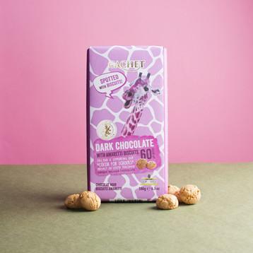Шоколад CACHET черный 60% какао с печеньем Амаретти 180 г